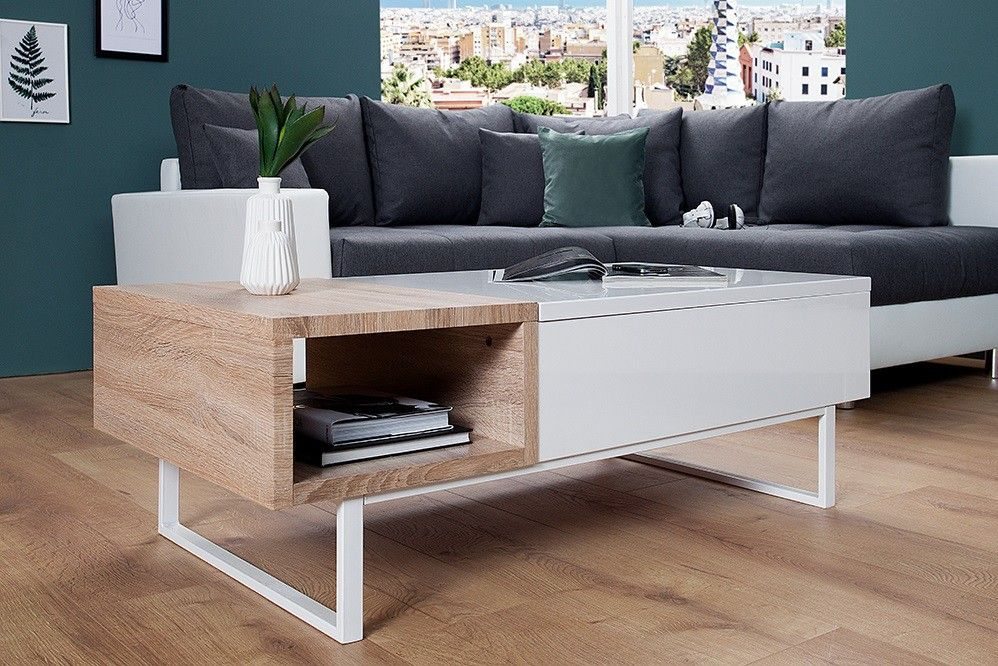Table Basse Design Avec Plateau Relevable Blanc Laque Et Bois Freezer 120 Cm Table Basse Design Table Basse Mobilier
