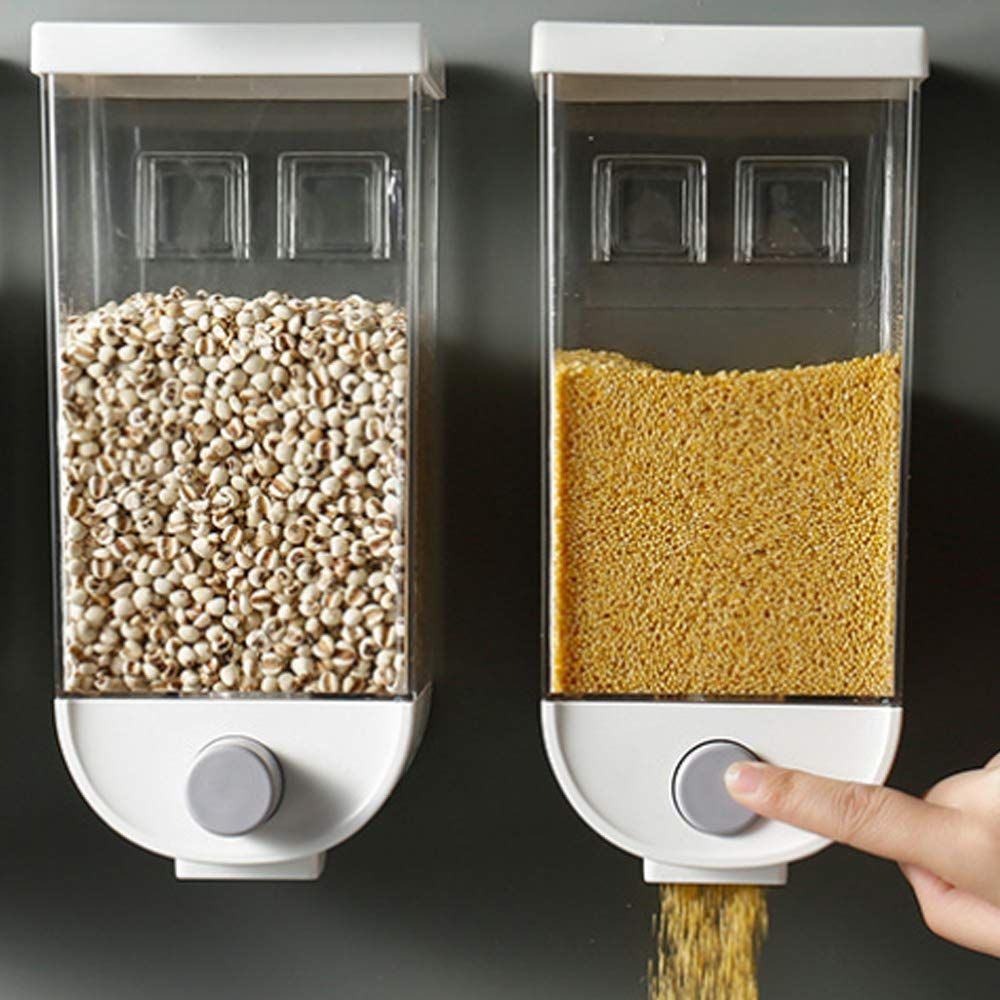 Baffect cereal dispenser double dry food organiserwall
