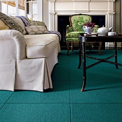 Flor carpet tiles for the rec room. Maybe mix teal with red and another color for a southwest theme?