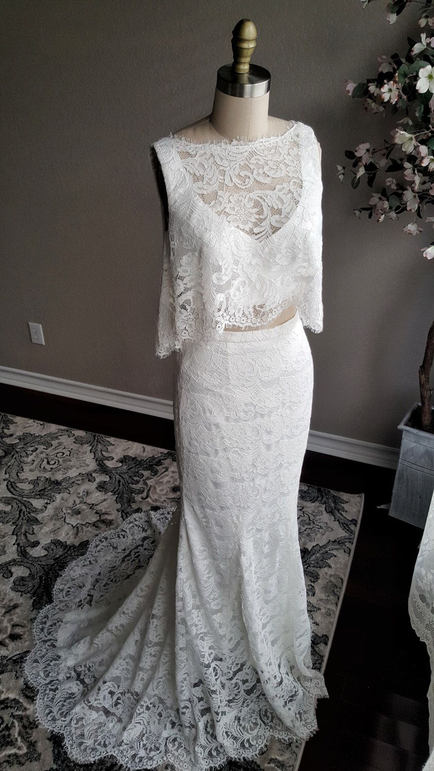 Hadley piece wedding dress boho wedding dress top and skirt