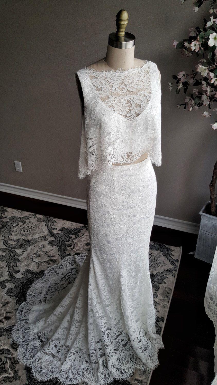 Hadley piece wedding dress boho wedding dress top and skirt