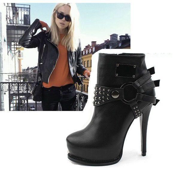 the best attitude b1c83 9b196 Sexy Nieten Punk Plateau Stiefellette Stiefel Ankle Boots ...