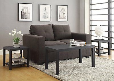 Best 3 Pc Modern Black Coffee End Table Set Sofa Furniture 400 x 300