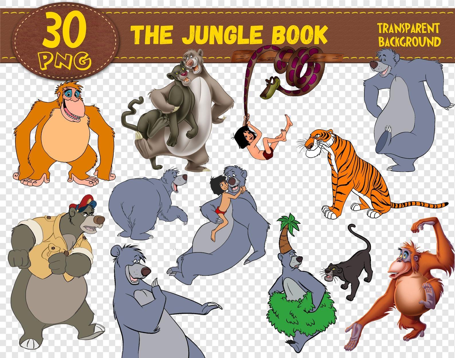 The Jungle Book Clipartthe Jungle Book Charactersthe Jungle Etsy In 2020 Jungle Book Characters Jungle Book Jungle Book Party Theme