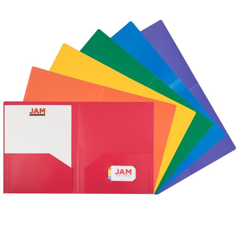 Colors: Red, Blue, Green, Yellow, Orange, and Purple. Size: 9.5 x 11.625 inches | Easily fits 8.5 inches x 11 inches documents. Quantity: 6 Folders per Pack | One for each subject and project. Our high quality two-pocket folders are made of very sturdy poly plastic, are tear resistant, and have a business card slot on the right side. These tough folders stand up to wear and tear, making them perfect for keeping important files secure and organized at school, in the office, on the job, at home, o