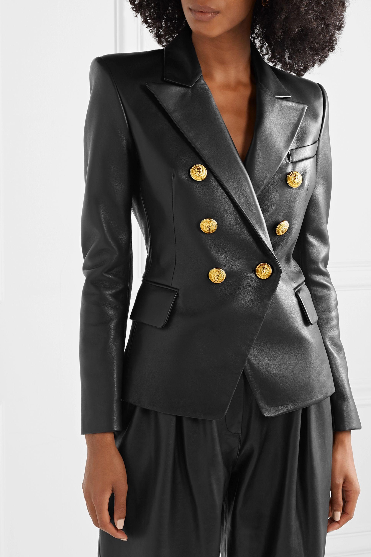 Black Double Breasted Leather Blazer Balmain Leather Blazer Balmain Leather Jacket Balmain Blazer [ 3001 x 2000 Pixel ]