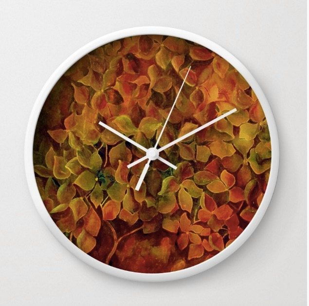 Art Wall Clock Green Burnt Orange Yellow Fl Kitchen Decor