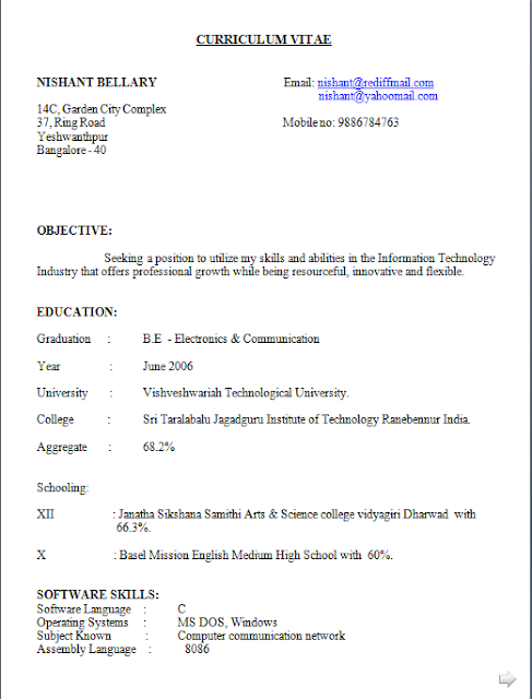 Curriculum Vitae Plantilla Free Download Sample Template Excellent
