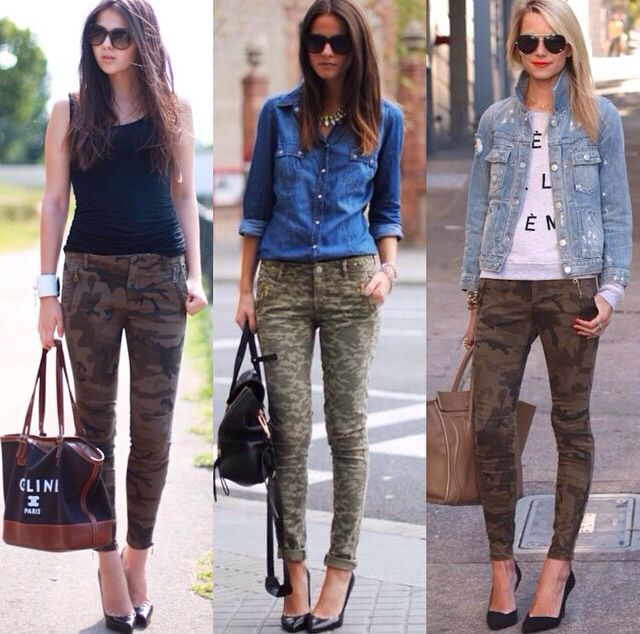 Army pants, denim top