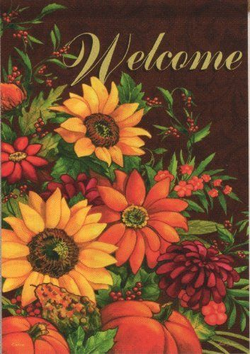 """""""Welcome"""" Pumpkin Bouquet Autumn Garden Flag 13""""x18"""" by Flag Trends. $5.95. Double Sided: Readable on Both Sides. 13""""x18"""". Durable 3-Ply Construction. New for 2012. Pumpkin Bouquet Flag designed by Janet Stever from Flag Trends. The flag features a beautiful fall floral display of Sunflowers, mums and berries with pumpkins and gourds. It reads Welcome. Great flag to display all Fall Season thru Thanksgiving. The outdoor decorative flag measures 13 x 18 and is sl..."""