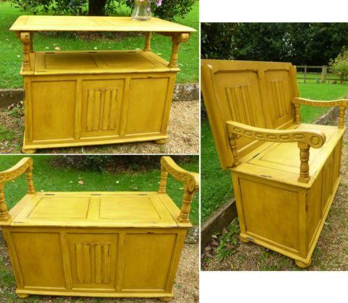 Vintage Antique Monks Bench Chest Blanket Box Storage Side Table Multi Use Pew