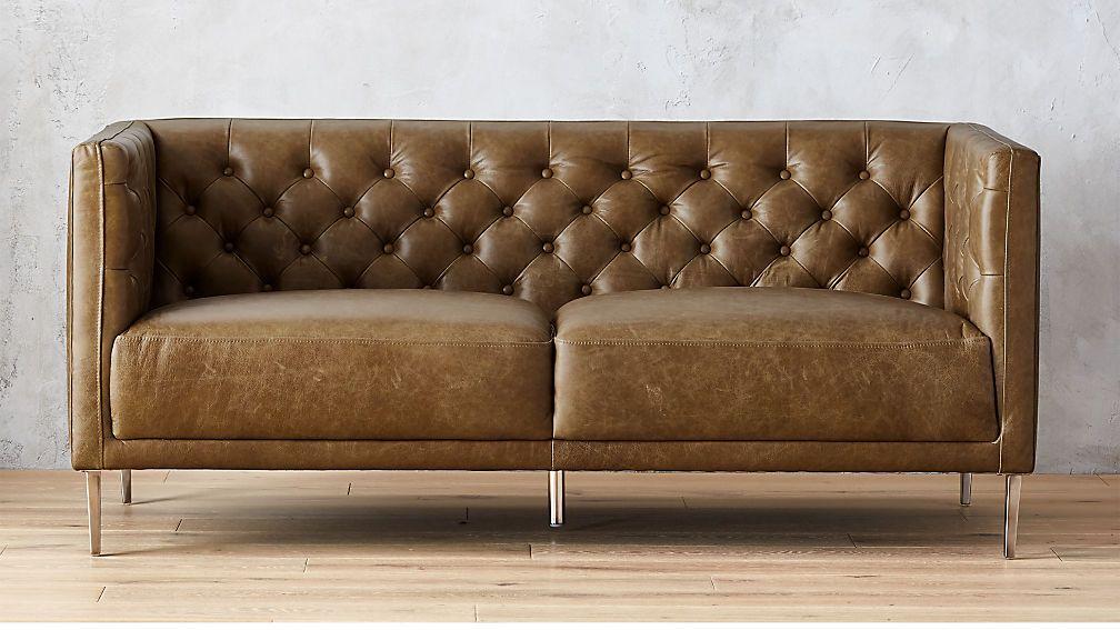 Savile Bello Saddle Leather Tufted Apartment Sofa + Reviews ...