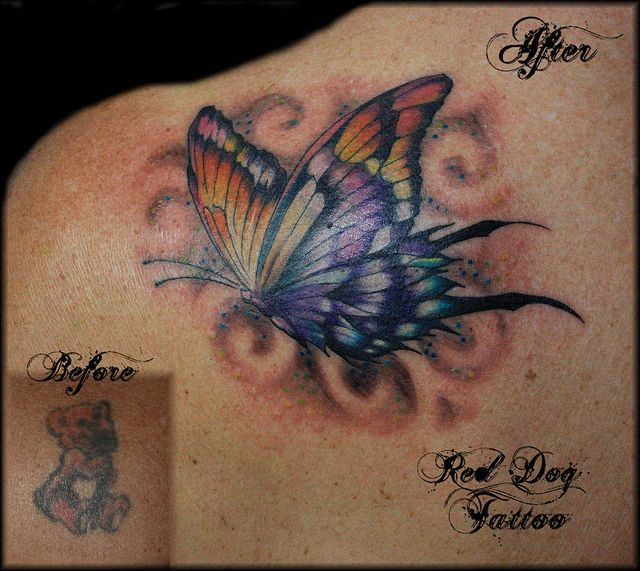 de4d0a83ccf15 Butterfly cover up | Tattoo Redo | Tattoos, Back tattoo, Insect tattoo