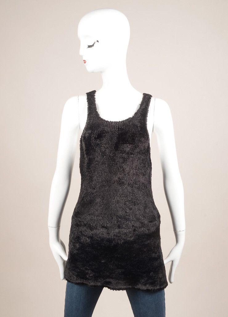 Black Faux Fur Knit Sleeveless Racer Back Top