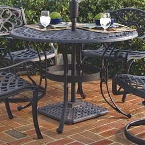 42 Inch Round Black Metal Outdoor Patio Dining Table With Umbrella Hole
