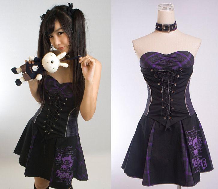 Purple Tartan Punk Rock Dress Pixieknix
