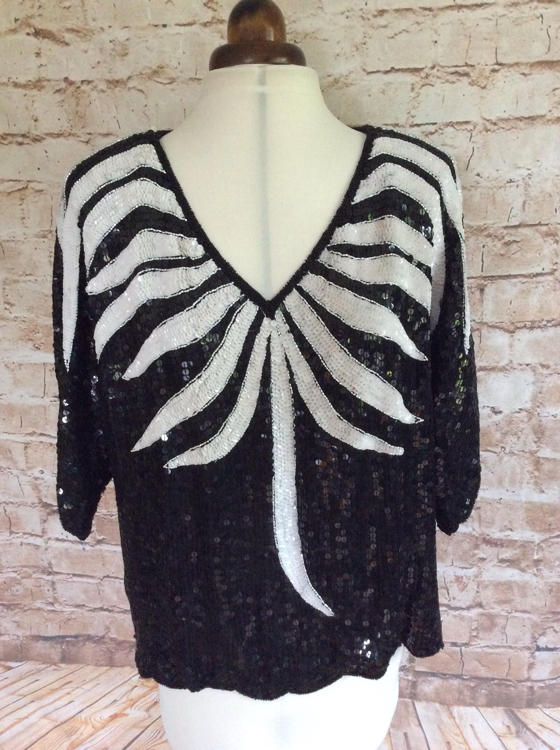 Vintage Evening Top Sequinned Frank Usher Designer Monochrome Black And White Wedding Party Occasion Bohemian Boho