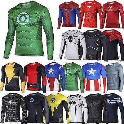 Superhero Marvel Comics Costume Cycling Tee T-Shirts Long Sleeve ... 5db2b56cb