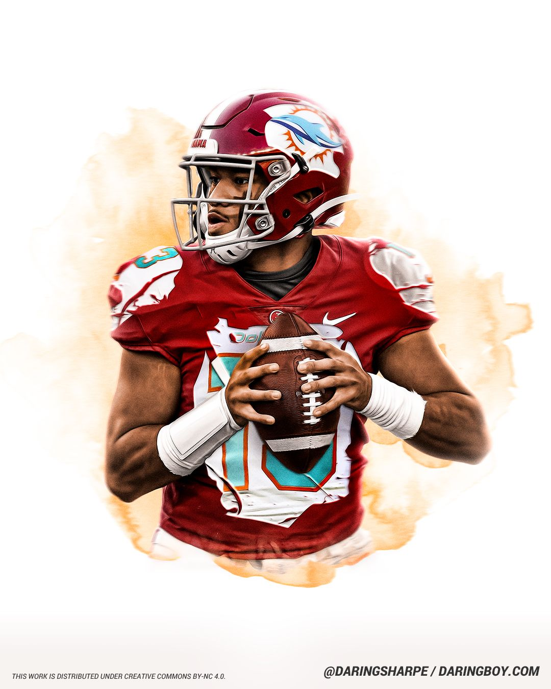 Tua Tagovailoa Miami Dolphins Alabama Crimson Tide In 2020 Miami Dolphins Football Dolphins Football Nfl Football Art