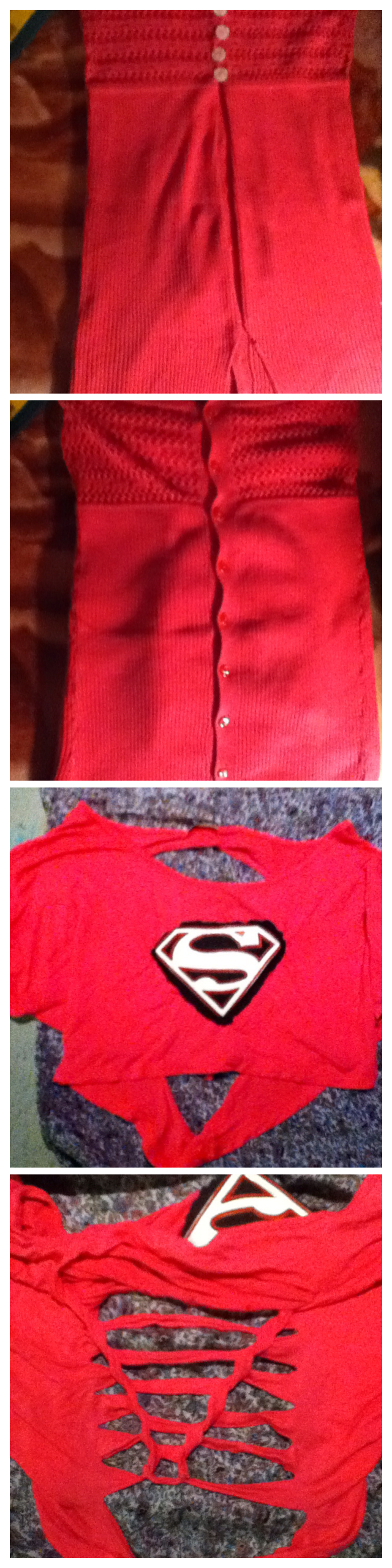 Transformed sweater into halter top, striped back superman crop top! Added superman logo recycled from little boys top!