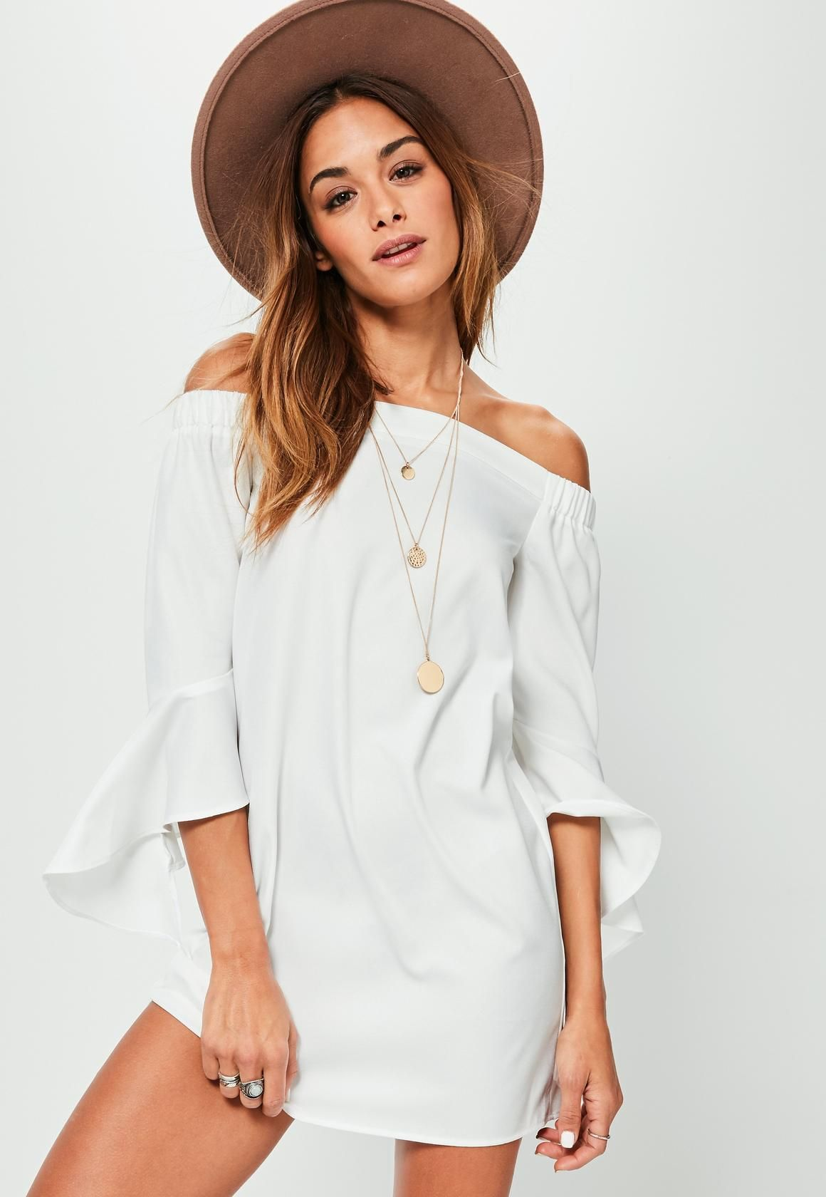 4103dc64db64 Missguided - White Bardot Frill Sleeve Shift Dress