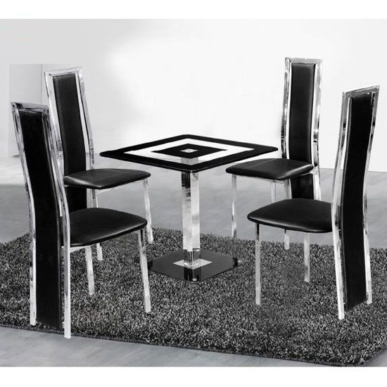 Holly Square Dining Table And 4 Black Deluxe Dining Chairs | table ...