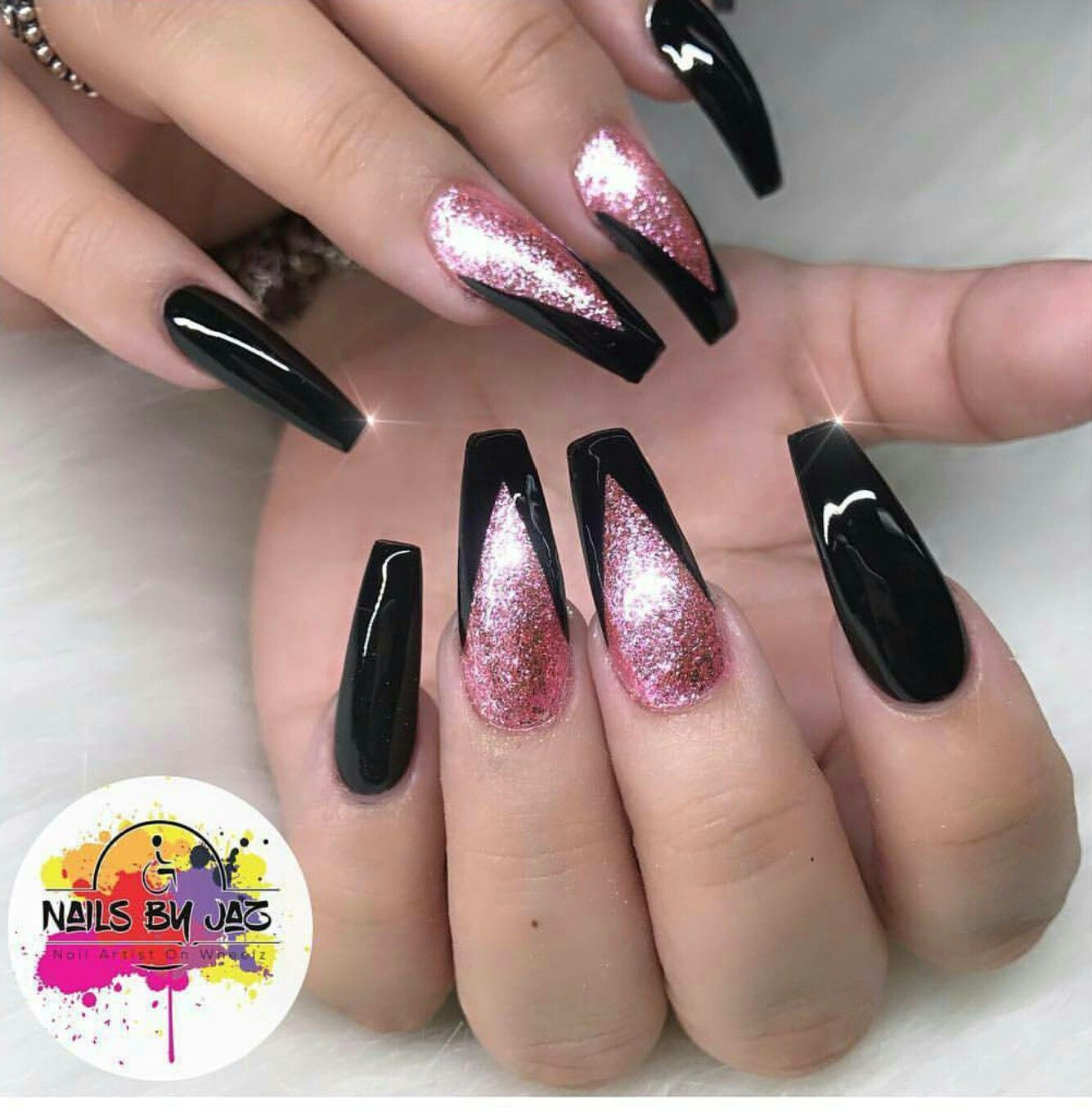 Cute Pink And Black Nail Designs Gallery
