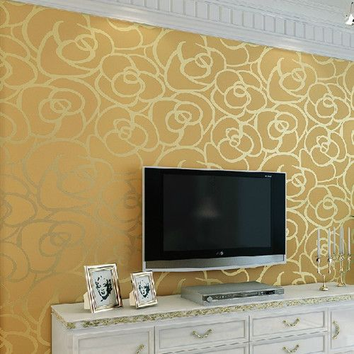 3D Gold Rose Mural Wallpaper Roll Background Wedding Decoration for ...