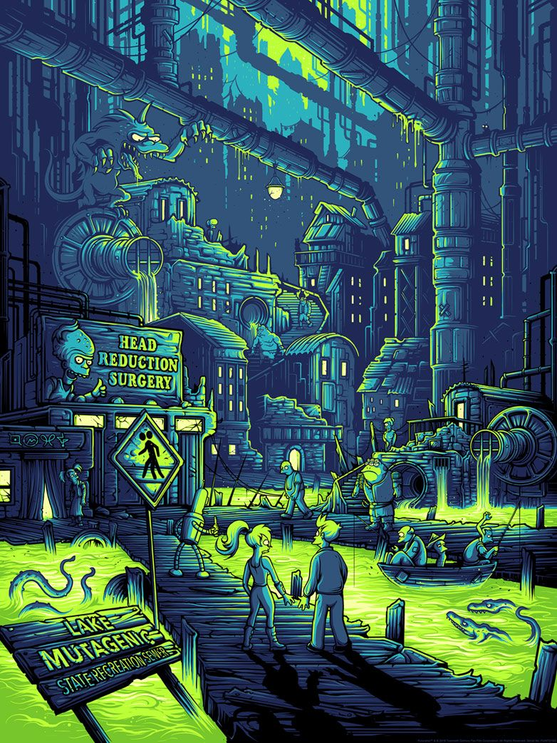 "I LOVE Dan's color pallet! ""You Guys Realize You Live in a Sewer, Right?"" Futurama Print by Dan Mumford  Visit DarkInkArt.com."