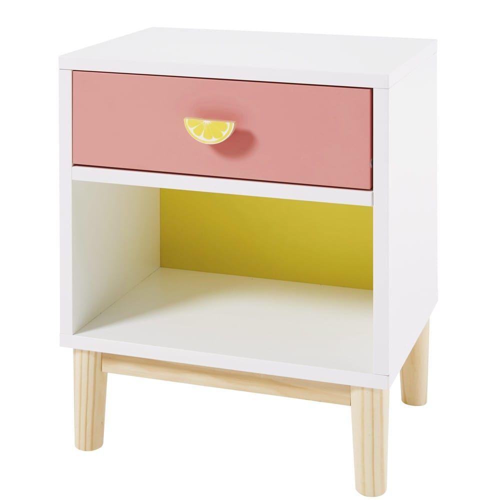 Table De Chevet Enfant Blanche Rose Et Jaune Maisons Du Monde Table De Chevet Enfant Chevet Enfant Table De Chevet