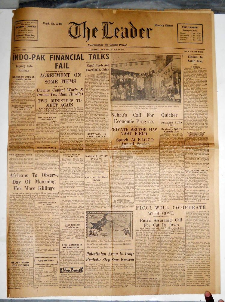India 1960 Newspaper THE LEADER Indo-Pak Financial Talks Fail - newspaper