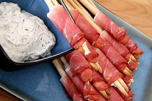 Proscuitto Wrapped Breadsticks with Creamy Goat Cheese