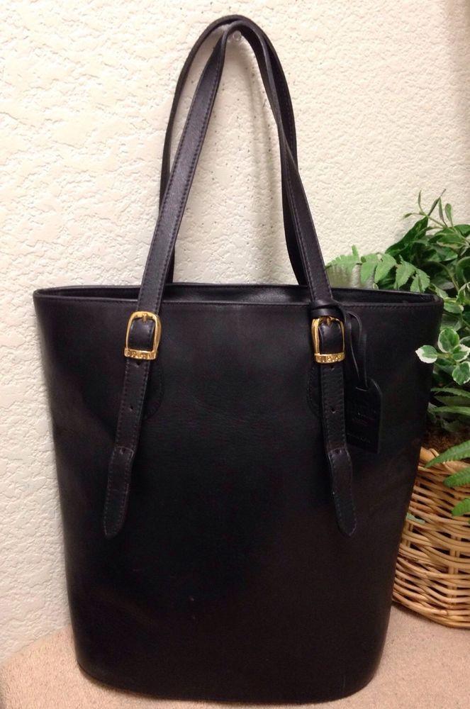El Portal Black Genuine Leather Tote Shoulder Handbag Bag Suede Interior  Fob USA  ElPortal  TotesShoppers 890b5e9fb41a