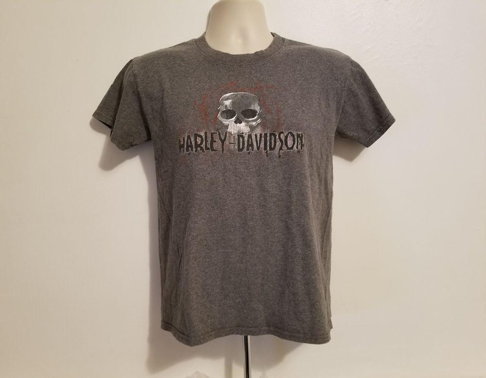 Harley Davidson Atlantic City New Jersey Boys Medium Gray Tshirt