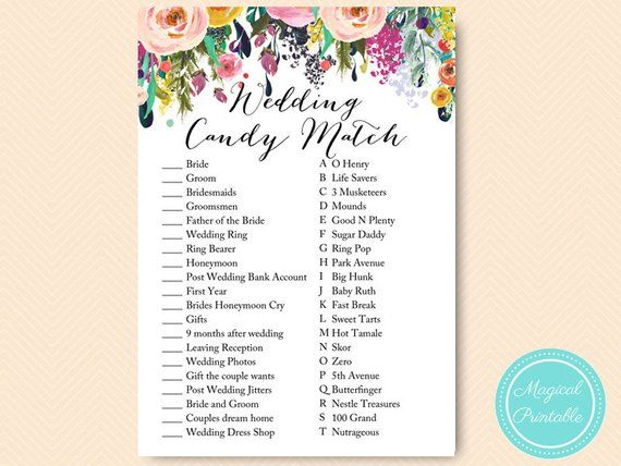 487d1342f1f7a Shabby Chic Bridal Shower Candy Bar Matching Game, Coed, Wedding ...