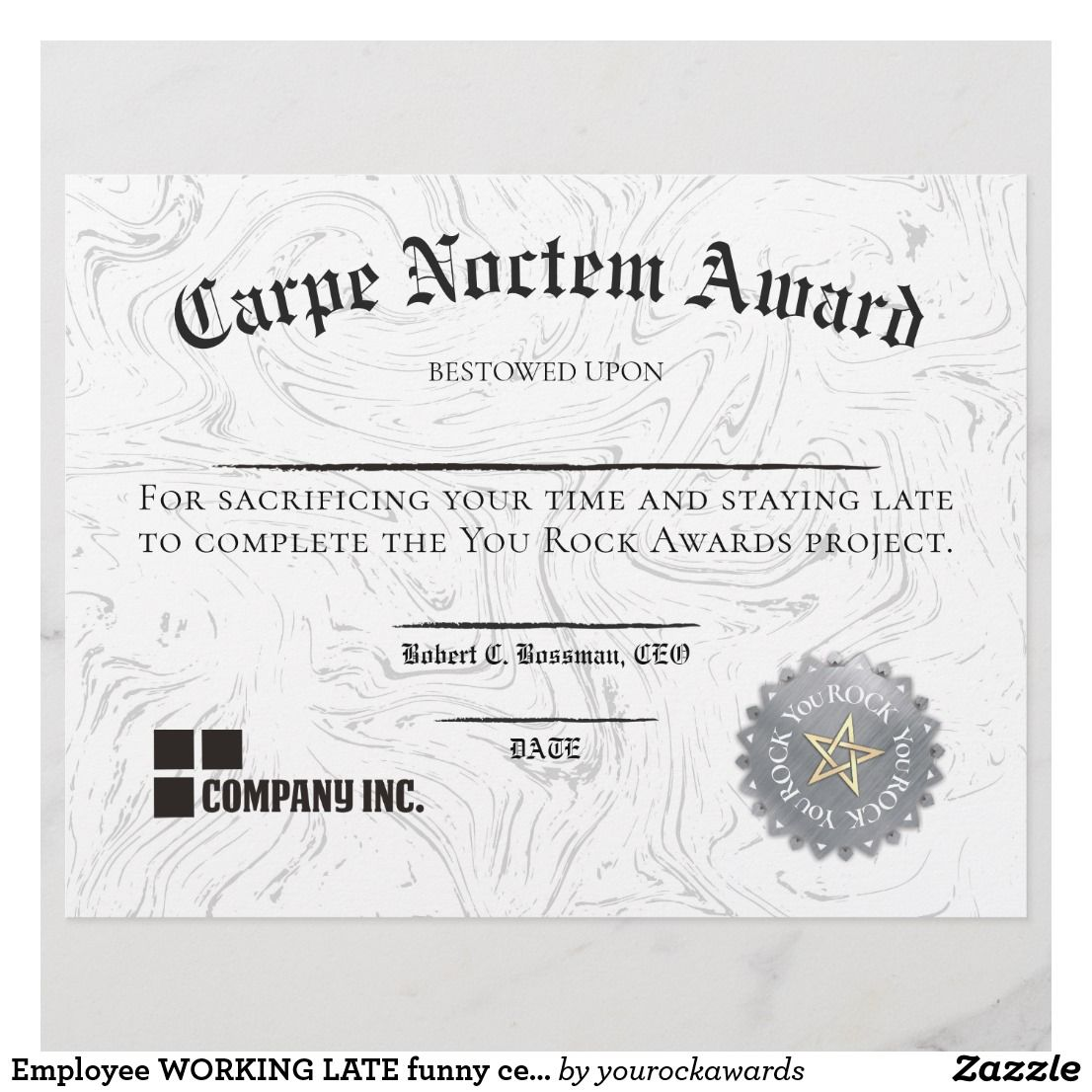 Employee Working Late Funny Certificate Award Zazzle Com Funny Certificates Certificate Templates Business Plan Template