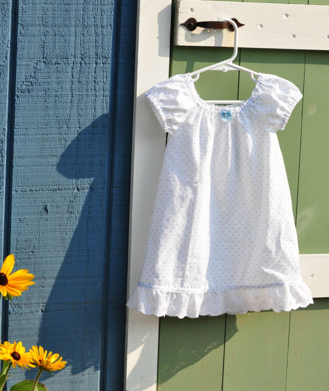 Toddler Girls White Cotton Nightgown Or Portrait Dress