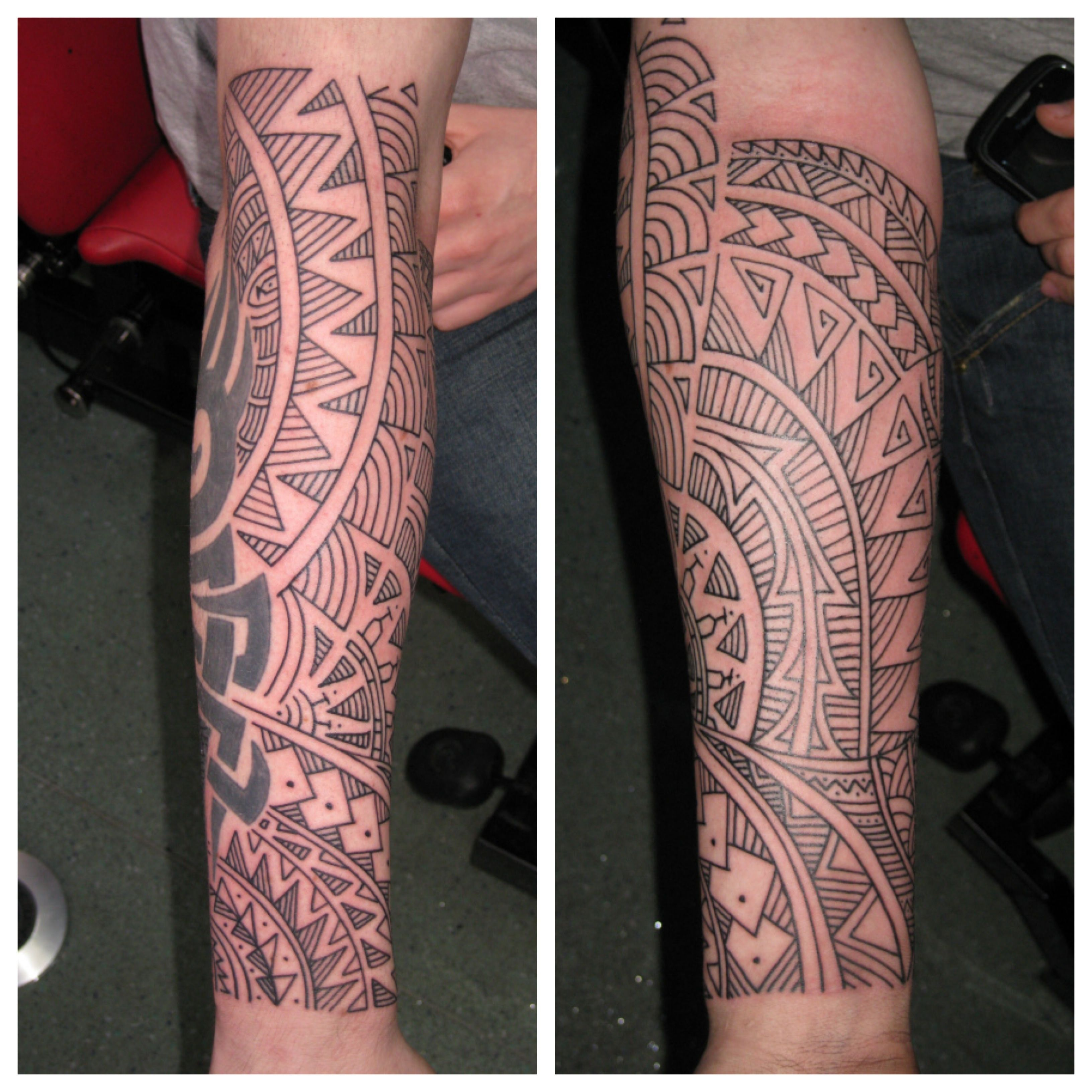 freehand polynesian tribal sleeve irish street tattoo