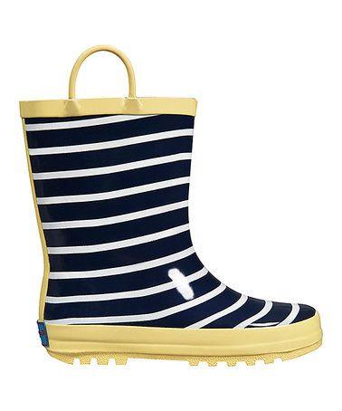 Blue & Yellow Sunny Stripe Rain Boot #zulily #zulilyfinds
