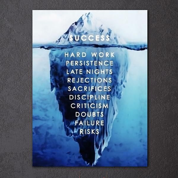 success hard work persistence quote success is an iceberg