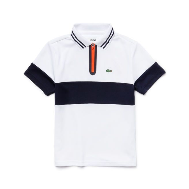 Kids Lacoste Sport Polo With Striped Zipper Collar In Run Resistant Knit Lacoste Polo Shirts Custom Polo Shirts Mens Stylish T Shirts