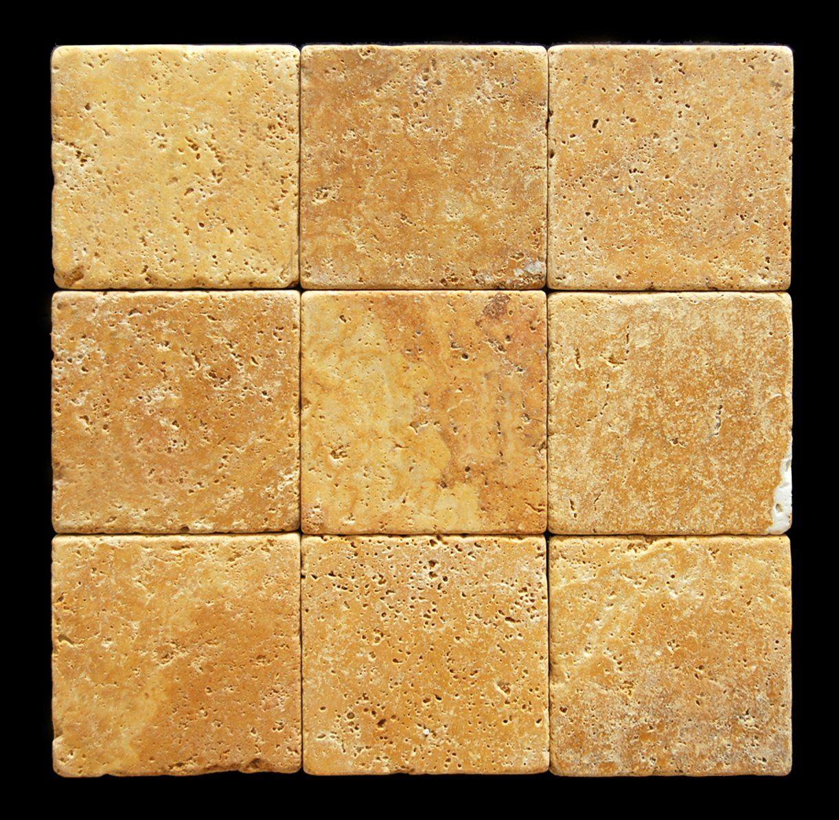 - Gold / Yellow 4X4 Tumbled Travertine Tile - Marble Tiles - Amazon