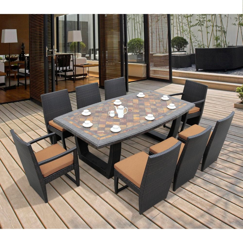 Batavia 9 Piece Dining Set Slate Stone Top By Sirio   Overstock.com  Shopping   Big Discounts On Sirio Dining Sets