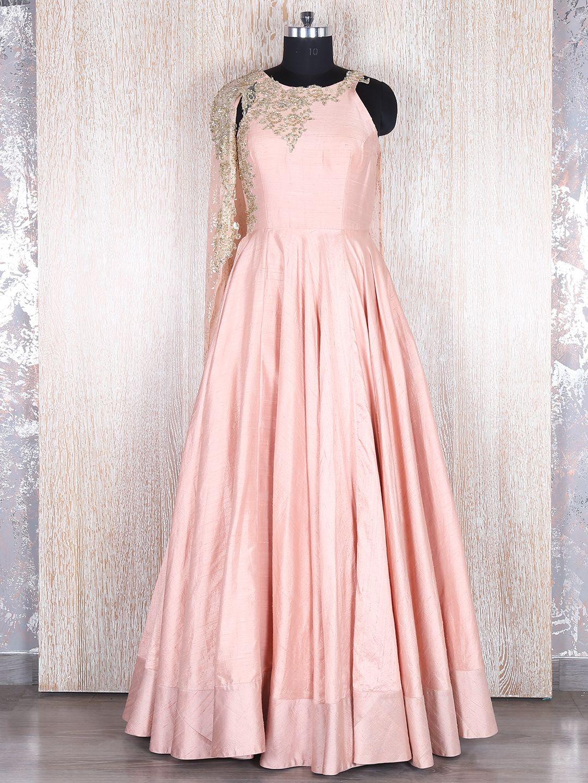 Peach Raw Silk Designer Gown