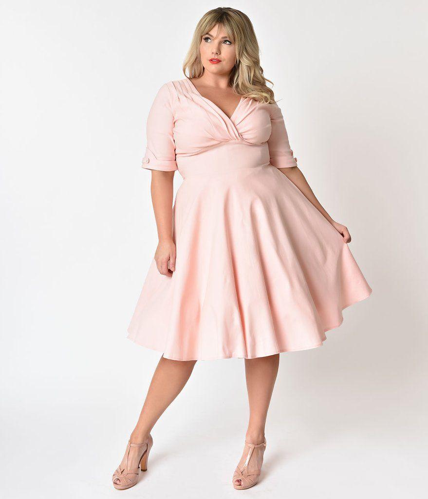Unique Vintage Plus Size 1950s Light Pink Delores Swing ...