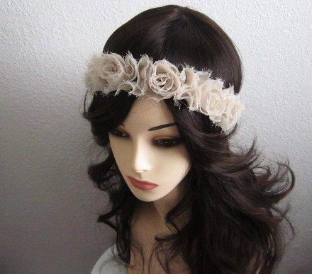 Ecru Lace Flower Headband  Size from Newborn  Adults by mymayamade, $23.99