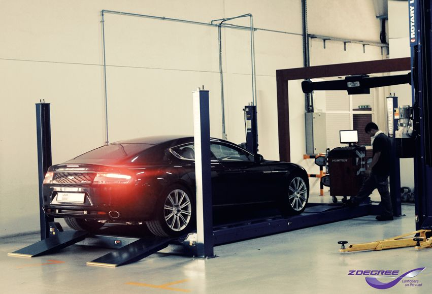 Aston Martin Rapide in for wheel alignment at ZDegree