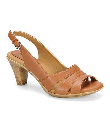 Look what I found on #zulily! Luggage Neima Patent Leather Slingback Sandal #zulilyfinds