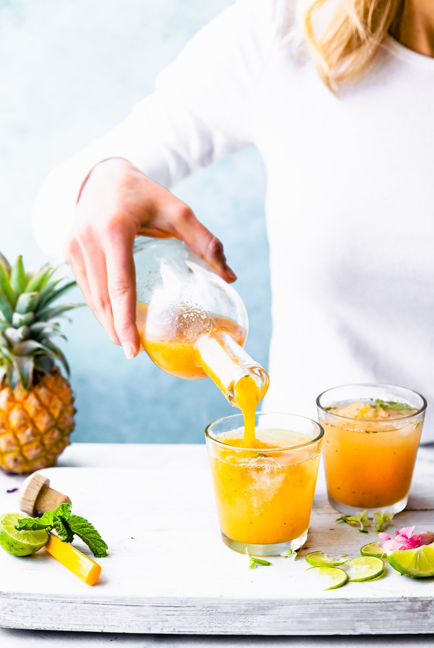 Turmeric Pineapple Apple Cider Vinegar Drink Detox Shrub Cocktail