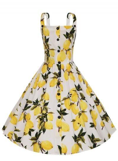 #BFCM #BlackFriday #CyberMonday #Oasap.com - #Roawe Women's Sleeveless Lemon Printed Swing Midi Dress - AdoreWe.com